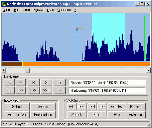 mp3DirectCut Download (Freeware) - das Tool zum MP3s schneiden - mp3directcut, audioschnitt, mp3.