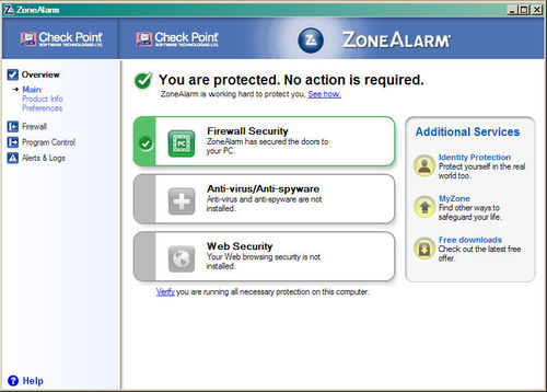 Zone Alarm Free Firewall Download (Freeware) - Die deutsche Version der kostenlosen Firewall - Zone, Arlam, Firewall, Screenshot, anti, virus, windows.